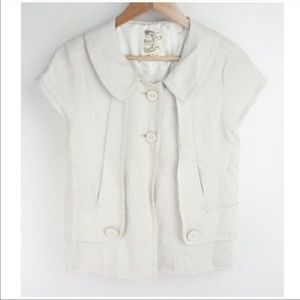 Anthropologie Tulle Blazer Sz Large Buttons Shiny